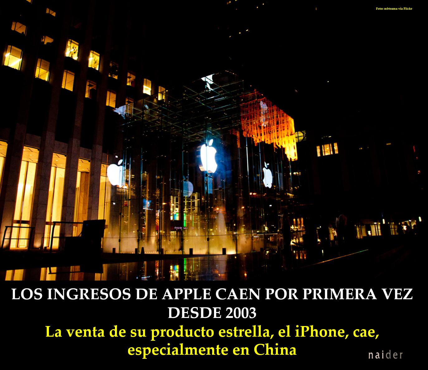 Los ingresos de Apple caen por primera vez desde 2003 infopost